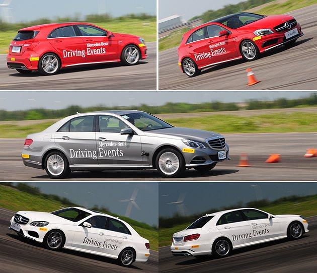 A45 AMG在高速繞錐中威風八面,與E400與E300 Hybrid兩款豪華房車成現截然不同的樂趣。 蔡志宇