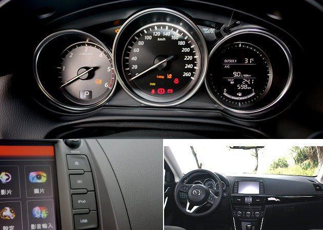 內裝配備功能性不錯,有現代感的三環式儀表,以及USB插孔、結合iPod的播放系統等。 記者林和謙/攝影