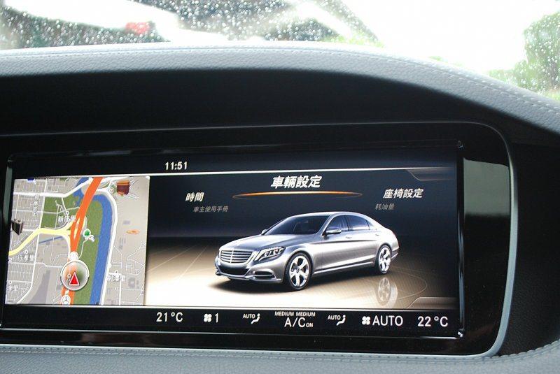 中控台上方螢幕可顯示多功能資訊。也可同步顯示2組內容 記者趙惠群/攝影
