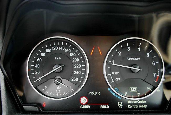 儀表板中央顯示的是ACC主動式定速巡航功能,它能維持與前車距離,自動追循及煞停,讓駕駛更輕鬆駕馭。 記者趙惠群/攝影