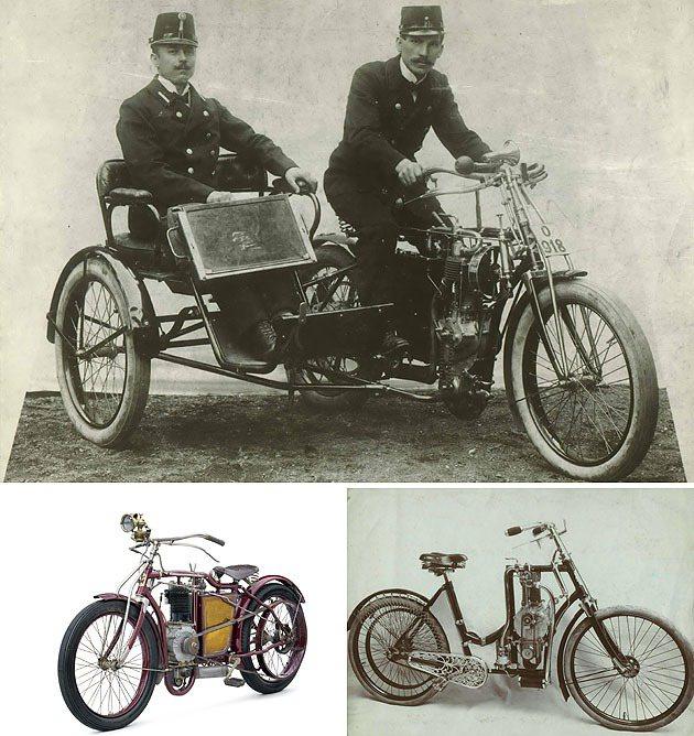 上圖為1902年LK推出三輪的Type L,下右側1902到1905年之間推出女性專用摩托車。 Skoda