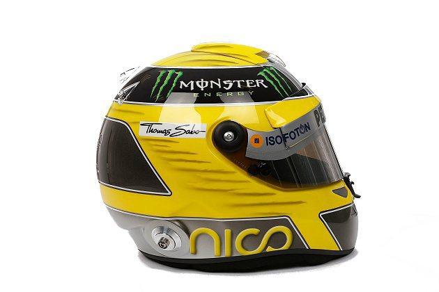Mercedes車隊車手Nico Rosberg被偷走的比賽頭盔。 Mercedes