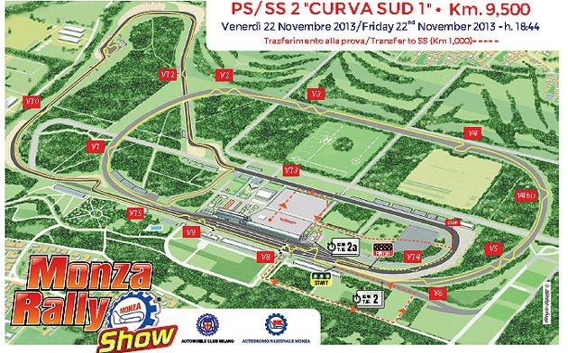 Monza Rally Show的關卡配置參考圖。 Monza Rally Sh...