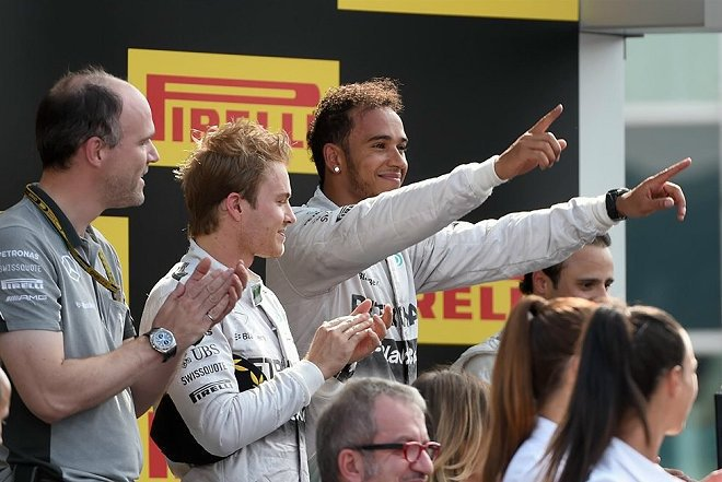 Hamilton在取得冠軍後,積分又追了上來,以216分落後Rosberg僅22分。 F1官方