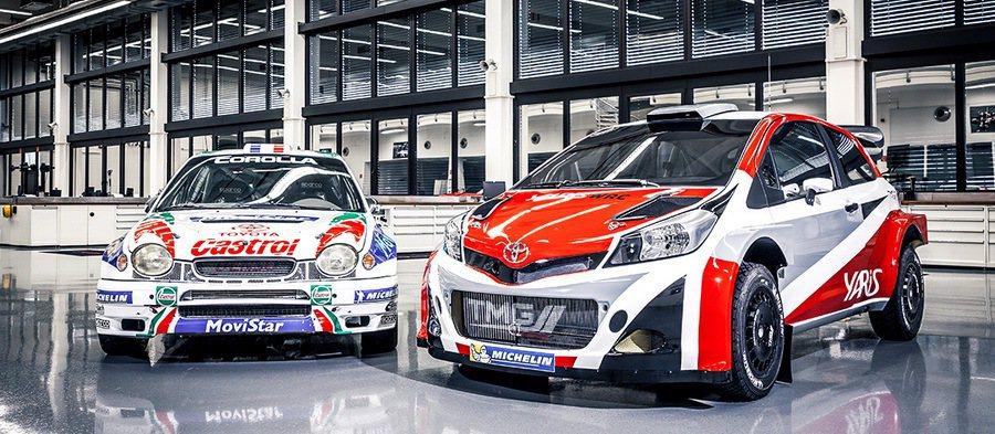 Yaris WRC對照於20年前曾叱吒風雲的Corolla WRC(圖左)戰馬。 Toyota提供