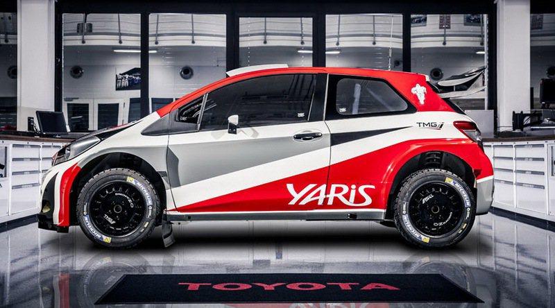 Yaris WRC外觀塗裝以紅白灰三色組成,全車加掛繁複的空力套件。 Toyota提供