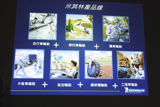 米其林產品涵蓋轎車胎、卡客車胎、飛機胎、農耕機胎、工程車胎、摩托車胎與自行車胎。 記者林和謙/攝影