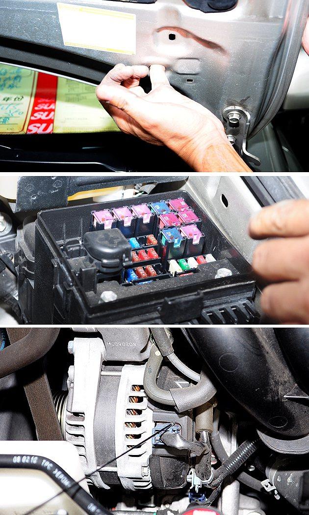 引擎蓋上的縫隙、保險私盒、還有發電機周圍的縫隙,都可以檢查有無汙泥殘留。 蔡志宇