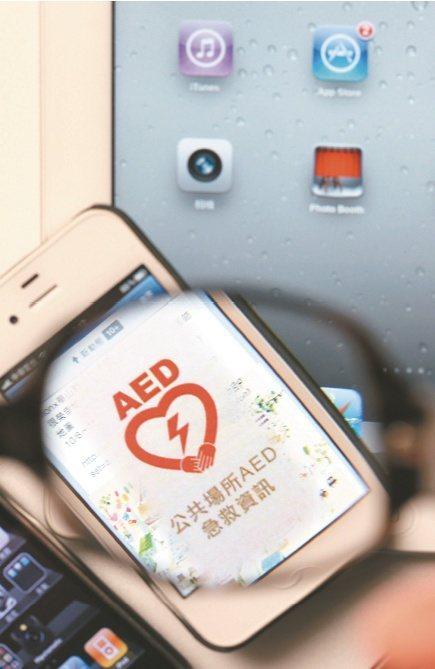 衛福部推出APP程式,把全國8700多台AED結合衛星定位(GPS),就像汽車導...