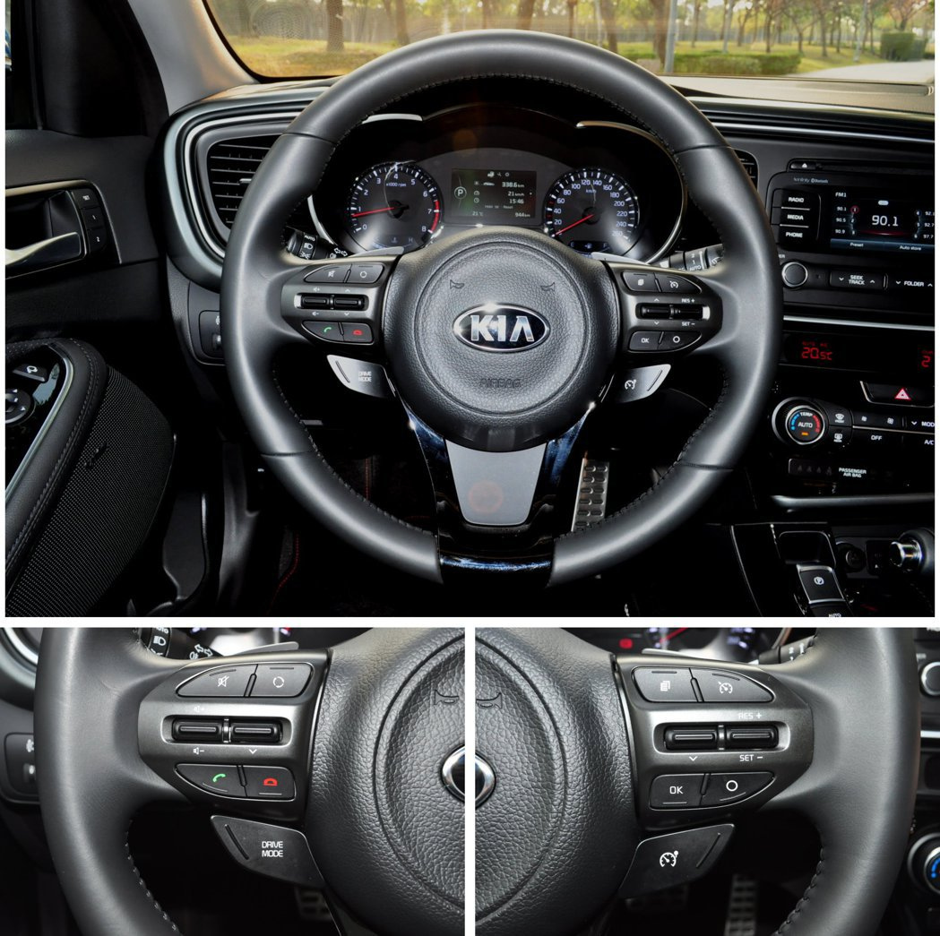 多功能方向盤,左側分別為音響控制、藍牙通話功能及可變駕駛模式(DRIVE MODE)按鍵;右側為行車電腦與定速巡航設定。 記者許信文/攝影