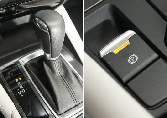 新年式Mazda 6沿用六速手自排變速箱,一旁則追加電子手煞車系統。 記者林翊民/攝影