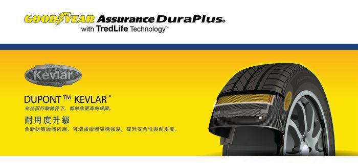 採用杜邦克維拉纖維(DuPont™ Kevlar Ò)材質,增添胎體強度。 固特異提供