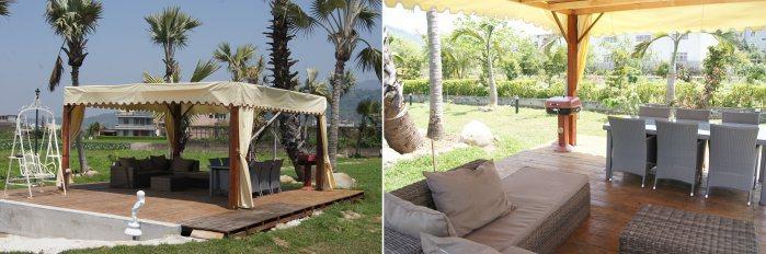 戶外也設置烤肉區,並設有鞦韆椅及水池。 記者林翊民/攝影