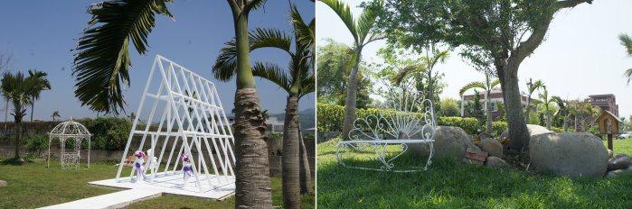 草原上女主人也設計可供休憩的座椅,一旁則是尚未完成的白色禮堂。 記者林翊民/攝影