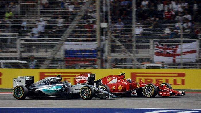 Rosberg為了防範Raikkonen在大直線底使用DRS超越,太晚剎車反而造...
