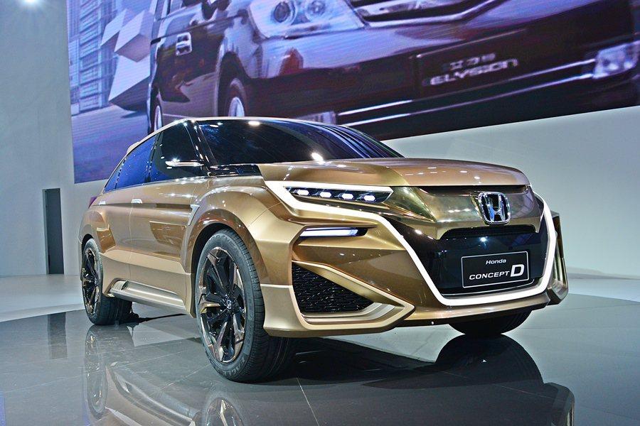 中國本田汽車在上海車展全球首發一款為中國研發中的Concept D運動休旅概念車...