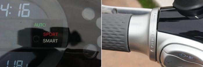 gogoro具備Sport、Smart等行車模式可調系統,左側把手則具備倒車輔助轉圜。 記者林翊民/攝影