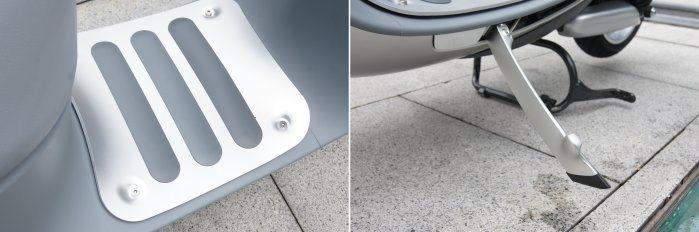 gogoro提供多樣選配套件,如全鋁合金腳踏墊、後視鏡顏色等,而未來原廠也會推出照地燈等配備。 記者林翊民/攝影