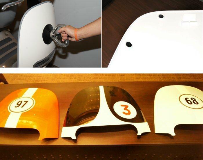 車殼採多點式強力磁鐵與卡榫設計,可用吸盤輕鬆迅速更換面板。 記者林翊民/攝影