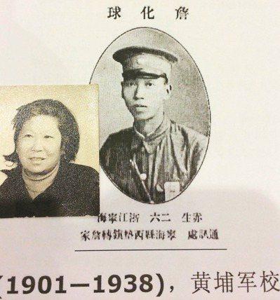 年輕時的工兵營長詹化球,旁為其女兒詹若娟。 圖/鄔霄勇提供