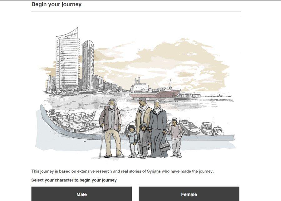 英國新聞媒體bbc推出的逃出敘利亞之旅專題,以互動體例讓讀者選擇逃亡路徑,他們稱...