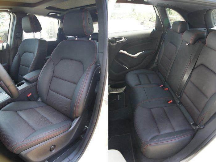 在AMG套件的妝點下,不論前後座椅都採紅色縫現增添熱血感。 記者林翊民/攝影