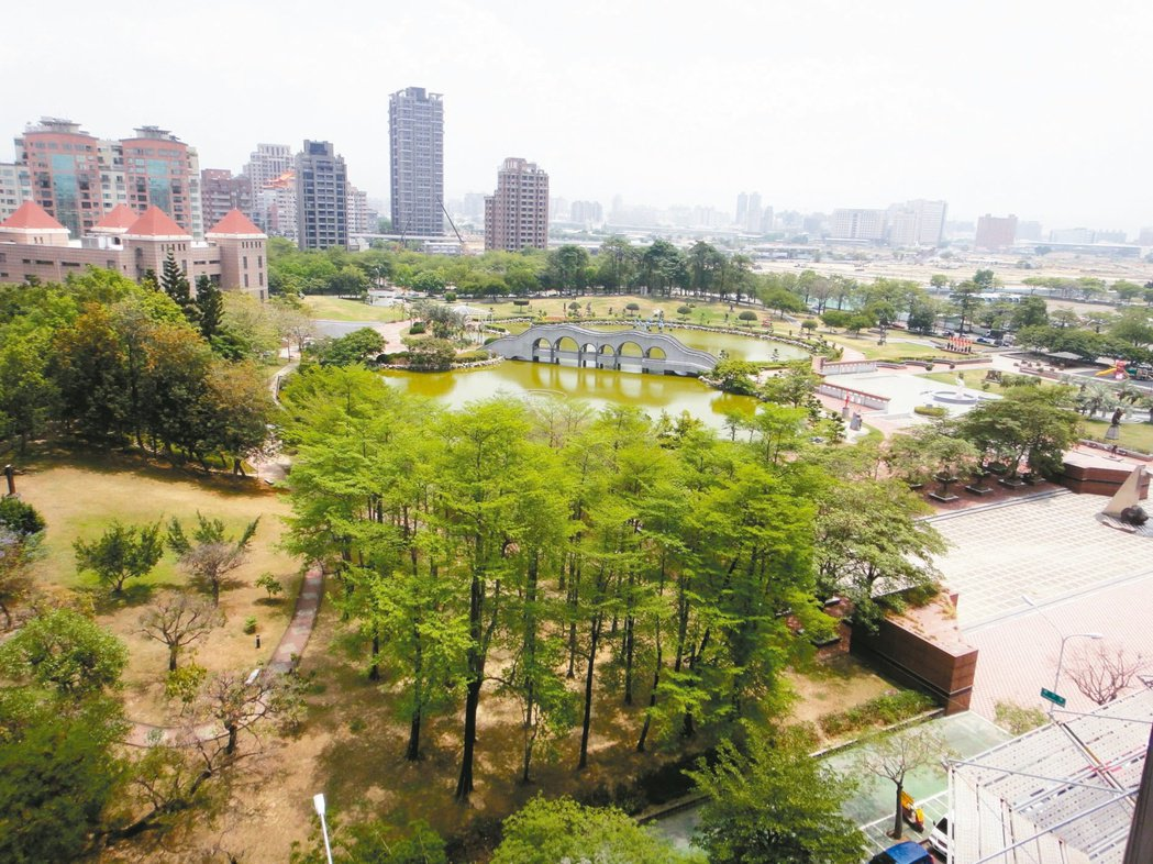 公園綠地帶動台中市八期房市發展。 記者宋健生/攝影