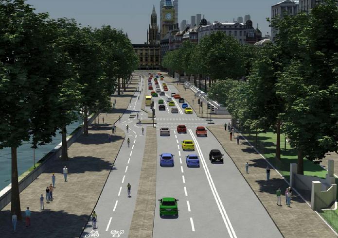 倫敦的自行車道設置原則為低於人行道,與路面同高,並與汽車分隔。 圖擷自 The Mayor's Vision for Cycling in London