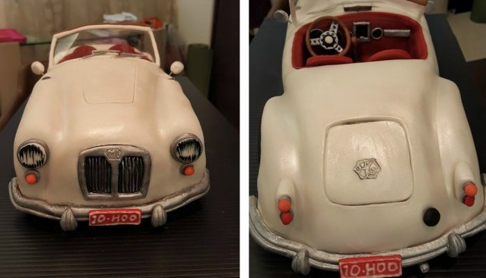 這部MG Magnette MK Ⅲ是蔡依林翻糖蛋糕的最新力作。 翻攝蔡依林臉書