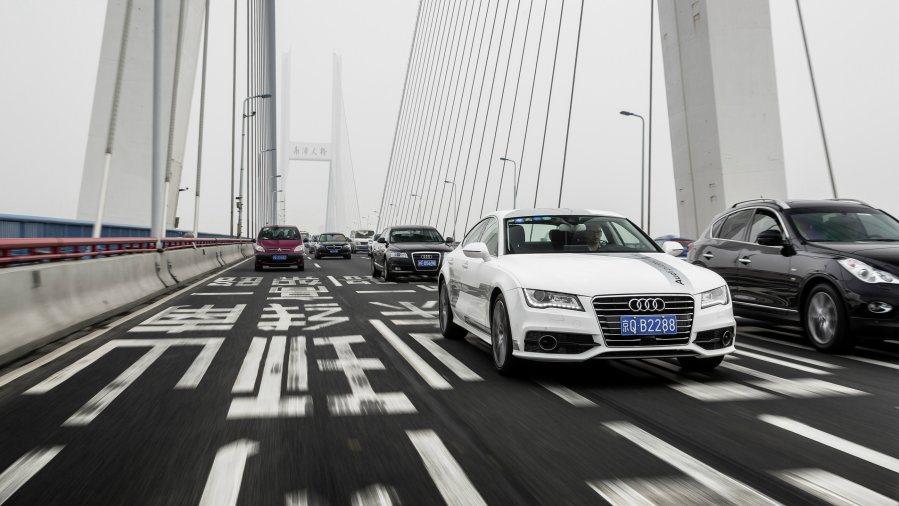 Audi首次將A7無人自動駕駛概念車於街頭實地行駛,並邀媒體一同體驗。 Audi...