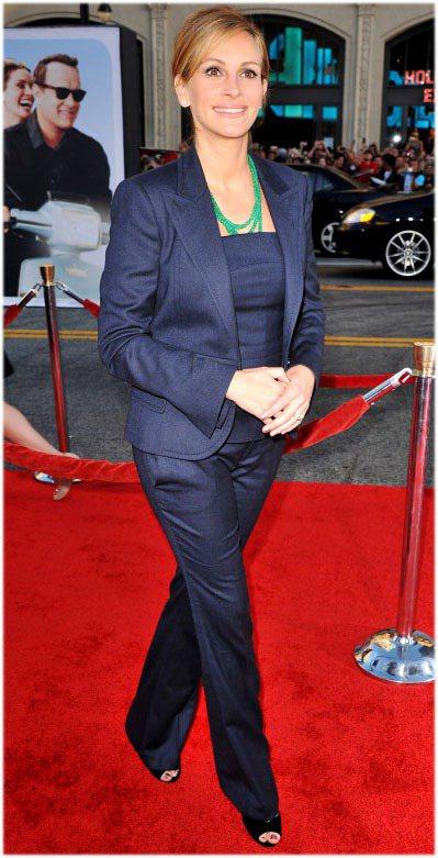 茱莉亞蘿勃茲日前出席新片首映會,穿上一身GUCCI早秋西裝,展現知性感。圖/達志...