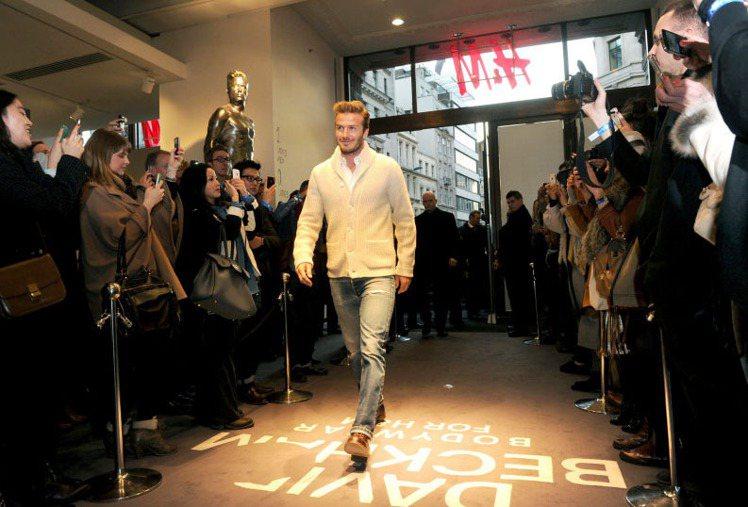 貝克漢出席倫敦H&M新款男性內衣上市活動。圖/達志影像