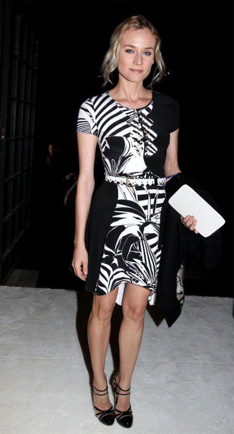 黛安克魯格VERSACE早春斑馬紋洋裝充滿夏日氣息。圖/達志影巷