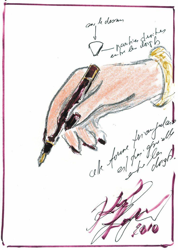 拉格斐為S.T.Dupont發想名筆的設計圖稿。圖/迪生提供