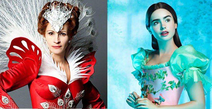 莉莉柯林斯(右)與茱麗亞羅勃茲合演的《魔鏡魔鏡》。圖/達志影像、迪士尼提供
