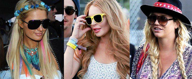 草地音樂節Coachella Music Festival,小配件和髮型也可一窺...