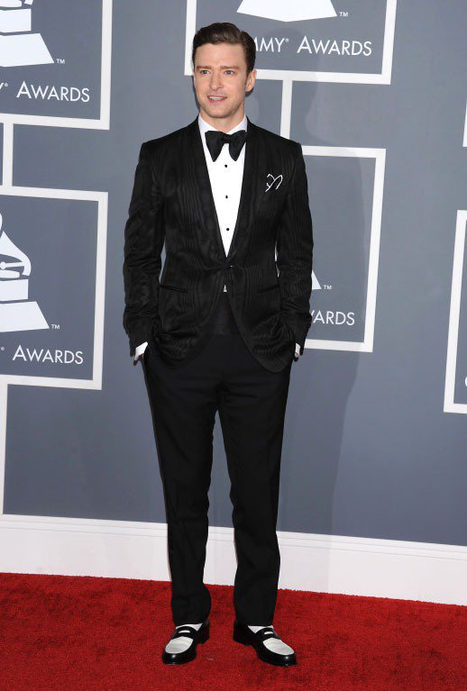 賈斯汀日前穿著Tom Ford西裝出席葛萊美獎。圖/達志影像