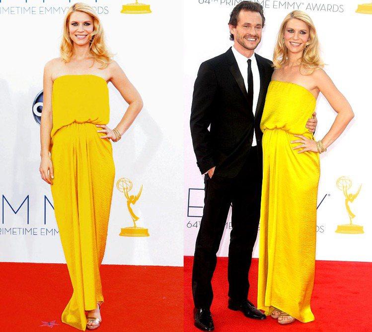 2012年的艾美獎,懷孕五個多月的克萊兒丹妮絲身穿LANVIN黃色禮服,與老公休...