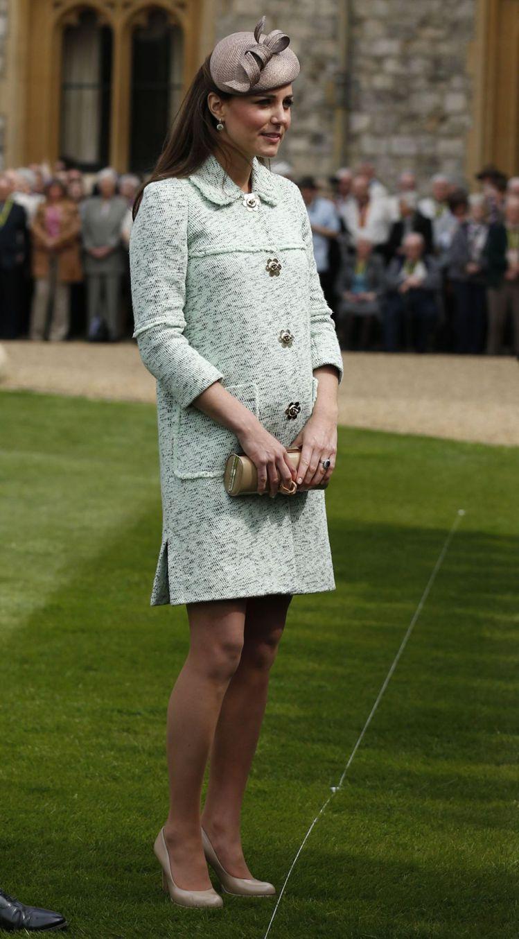 英國劍橋公爵夫人凱特密道頓的孕婦造型高貴優雅。圖/達志影像