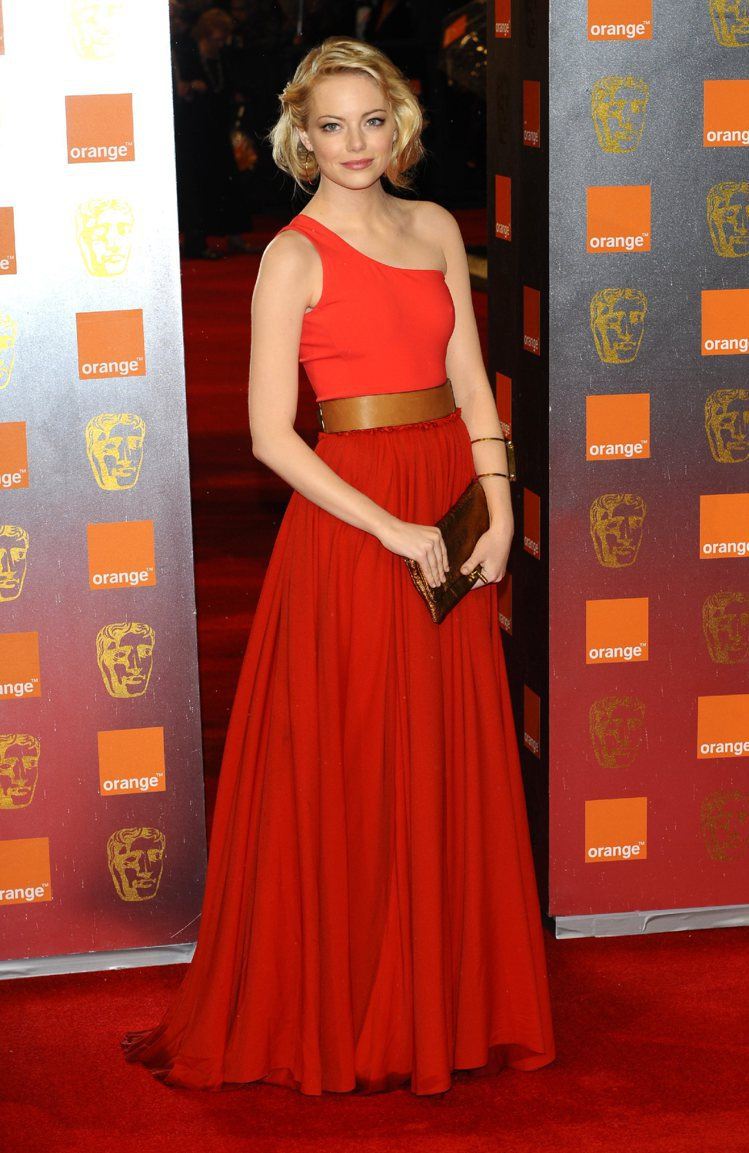 好品味的艾瑪史東身穿LANVIN禮服展現優雅。圖/達志影像