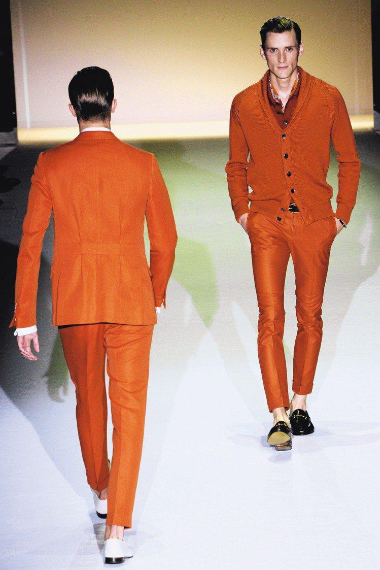 時尚圈再度掀起了西裝頭風潮。圖為GUCCI春夏男裝秀。圖/法新社