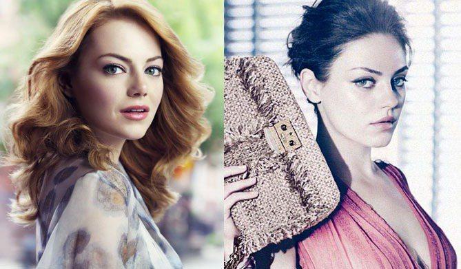 艾瑪史東和蜜拉庫妮絲的代言廣告,一邊是甜美脫俗,一邊是冷豔時尚。圖/露華濃、Di...