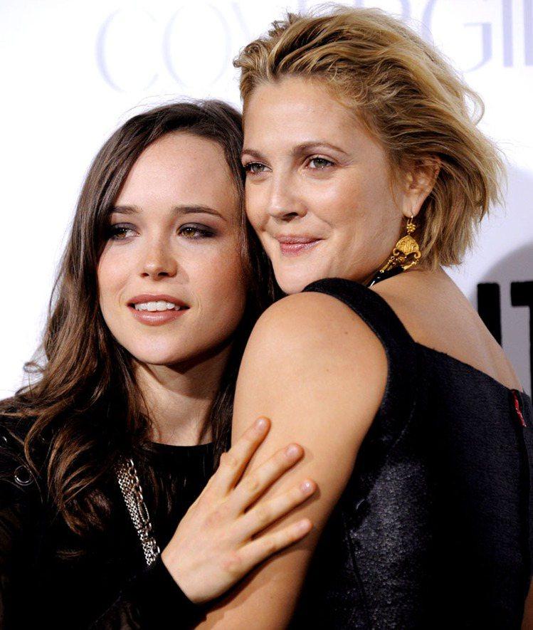 艾倫佩姬(左)與茱兒芭莉摩(右)曾一同出席「飆速青春」首映。圖/美聯社