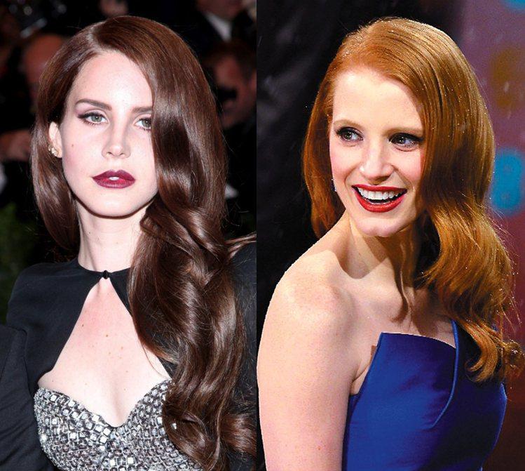 同樣散發著奶油光澤的波浪捲髮、相似的臉型、紅唇look...美麗又性感的古典女郎...