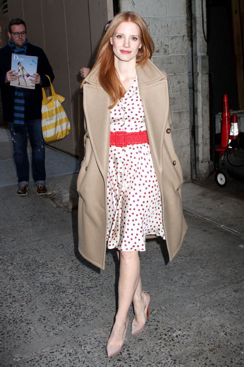 潔西卡崔斯坦時尚品味備受讚賞,曾入選「浮華世界」最會穿衣名人排行榜。圖/達志影像
