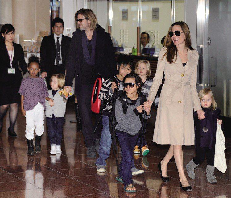 布裘與三名養子女、三名親生子女組成的Brangelina。圖/達志影像