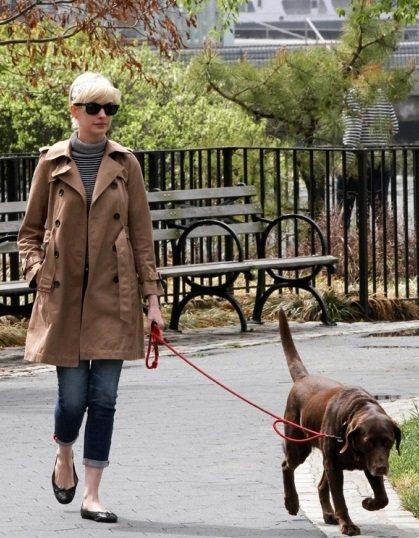 安海瑟薇遛狗時簡單的高領外搭一件硬版風衣外套就好有氣質。圖/she.com Ta...