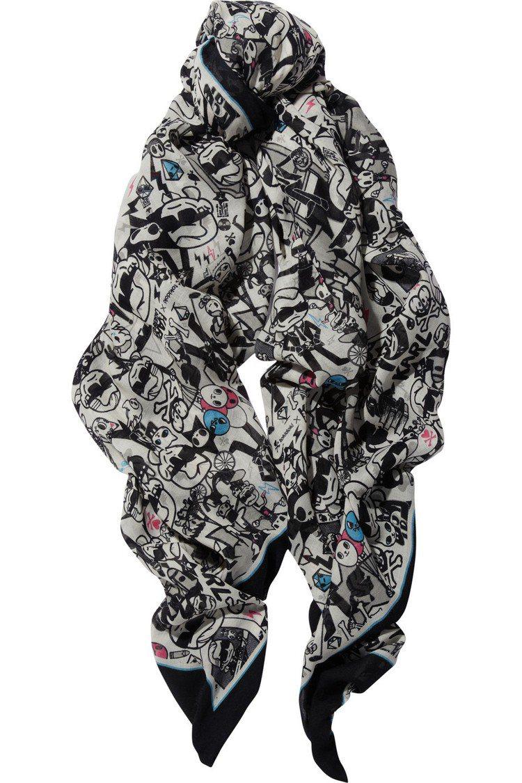 2013 Tokidoki x 卡爾拉格斐 圍巾。圖/擷取自Net-A-Port...