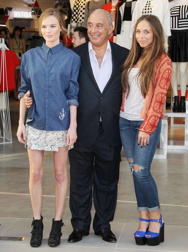 Chloe Green與老爸 Philip Green、女星凱特柏絲沃。圖/達志...