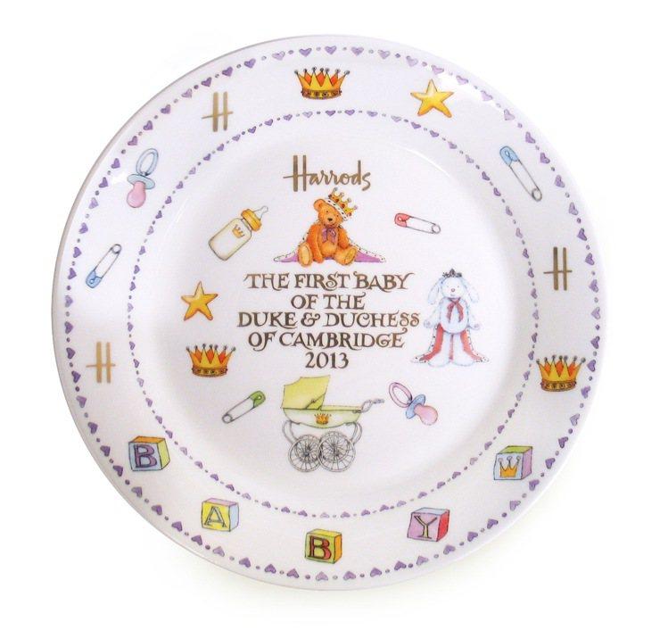 Harrods特別推出「皇室寶寶限定紀念瓷器」。圖/Harrods提供
